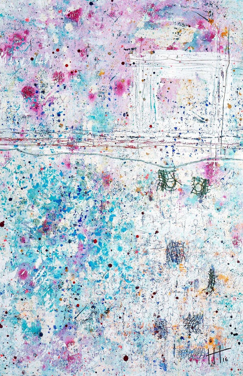 'The Glove Factory' Acrylic & Mixed Media /129cm x 93cm (framed) £1,750