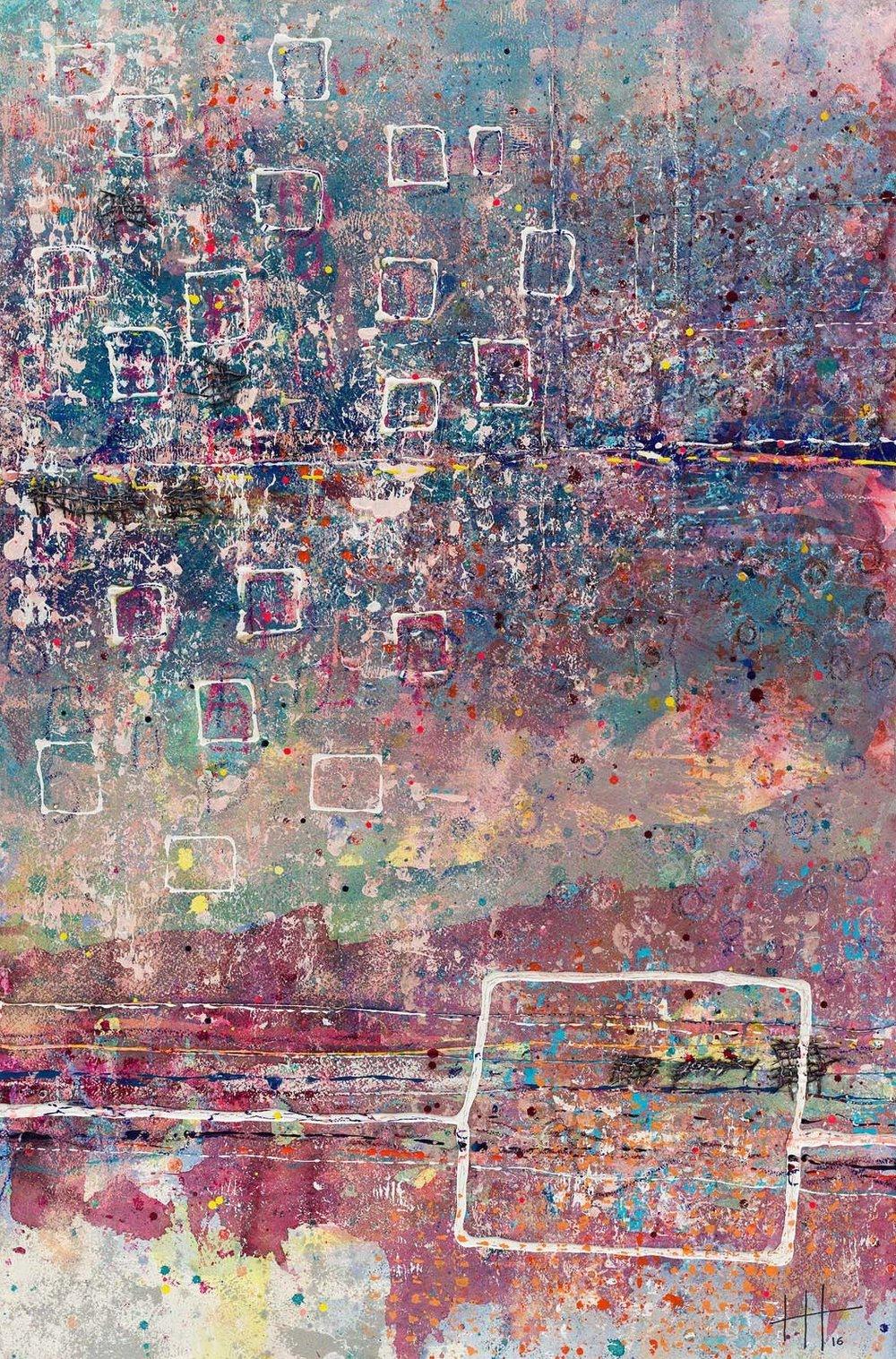 'Evening Walk' Acrylic & Mixed Media / 129cm x 93cm (framed) £1,750