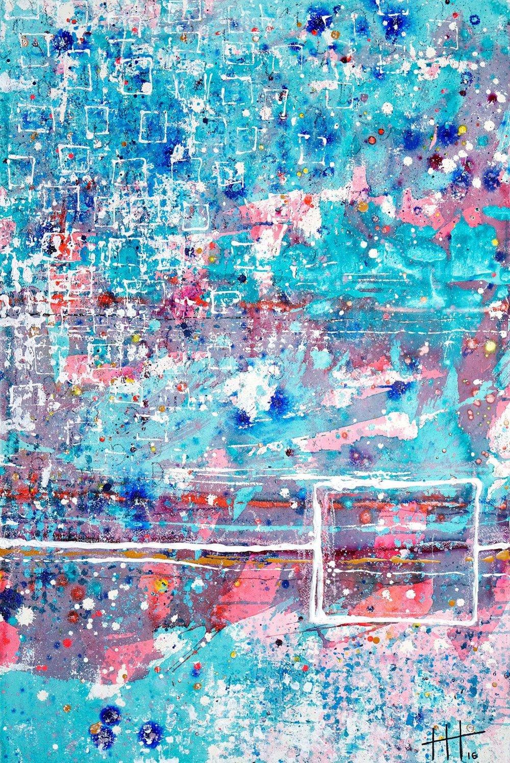 'The Glasshouse' Acrylic & Mixed Media /129cm x 93cm (framed) £1,750