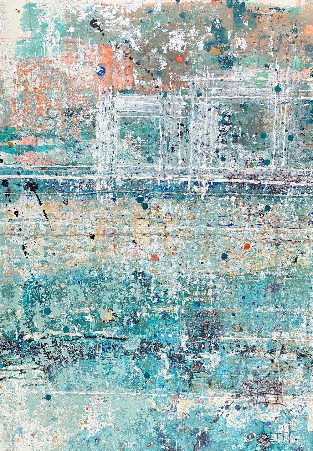 'Near Sea Town' Acrylic & Mixed Media /119cm x 93cm (framed) £1,750