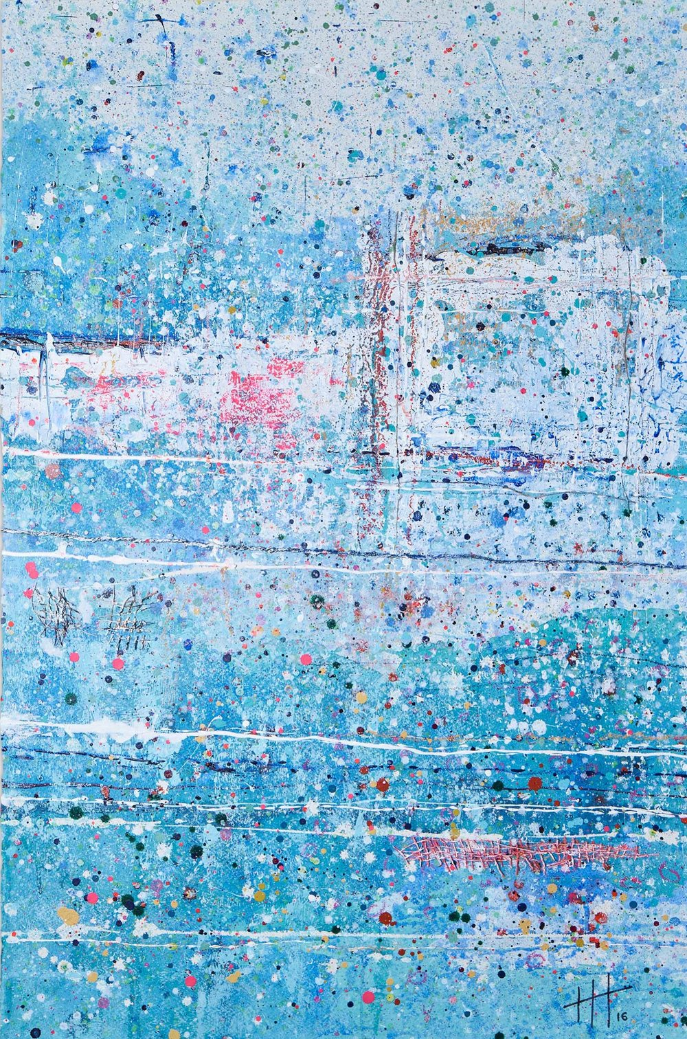 'Wild Swimming' Acrylic & Mixed Media / 129cm x 93cm (framed) SOLD