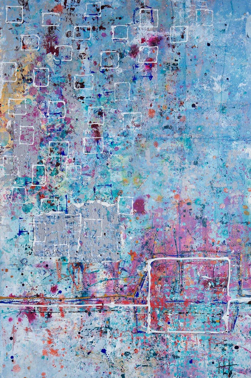 'Studio Days' Acrylic & Mixed Media / 129cm x 93cm (framed) SOLD