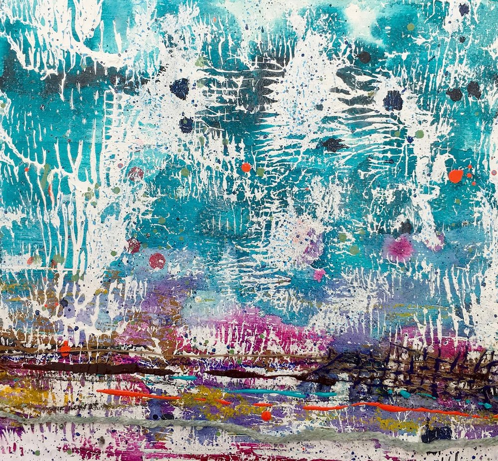 'Beautiful Day' Acrylic & Mixed Media / 47.5cm x 47.5cm (framed) SOLD