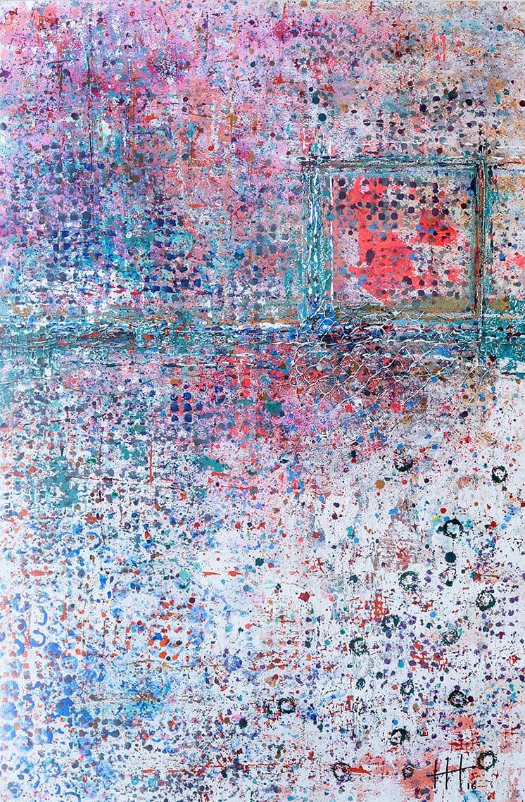 'Tea on the Roof' Acrylic & Mixed Media /129cm x 93cm (framed) SOLD