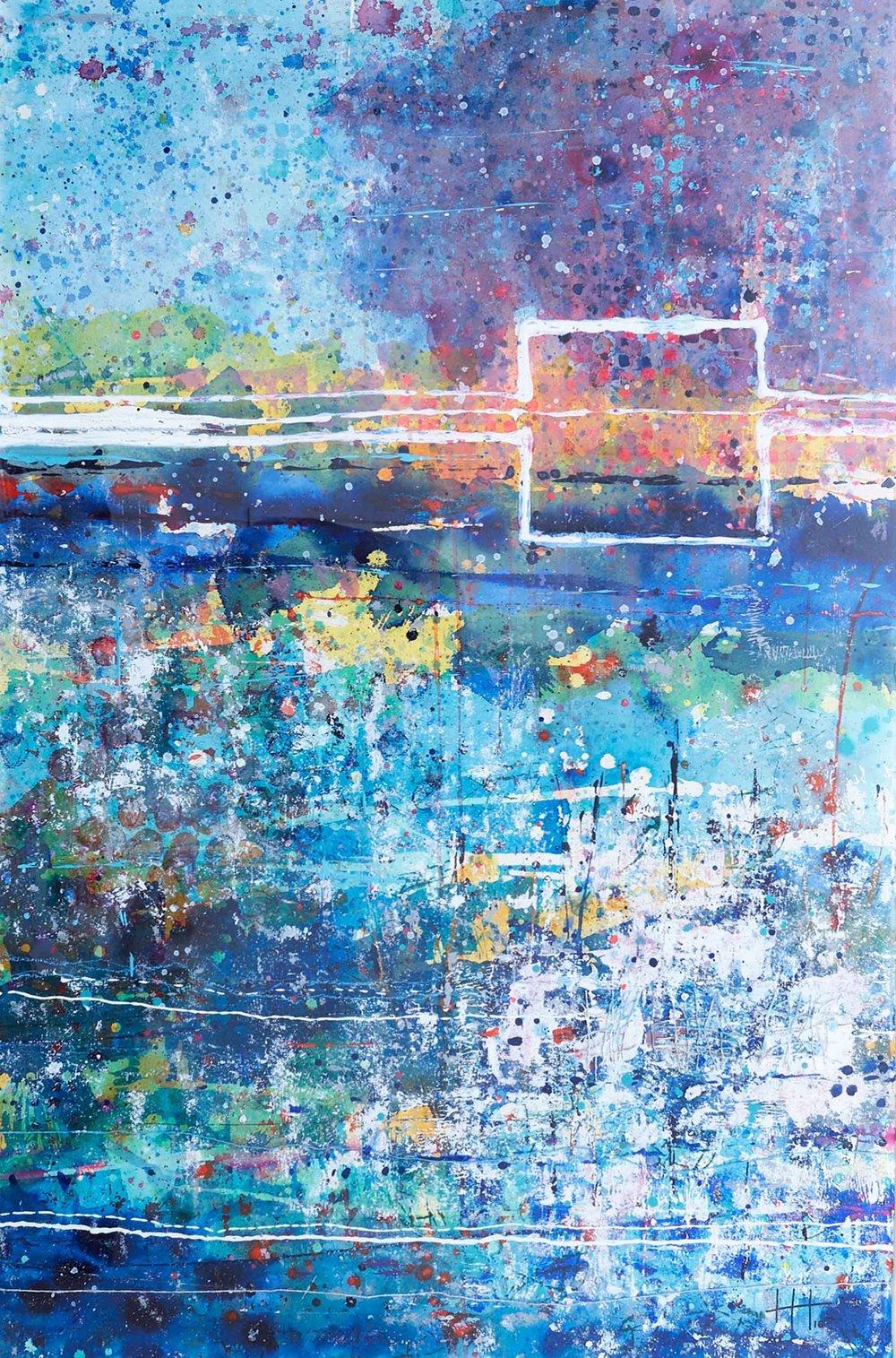 'The Meadows' Acrylic & Mixed Media /129cm x 93cm (framed) SOLD