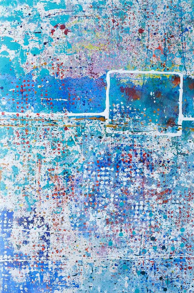 'Sennen Blue' Acrylic & Mixed Media / 129cm x 93cm (framed) SOLD