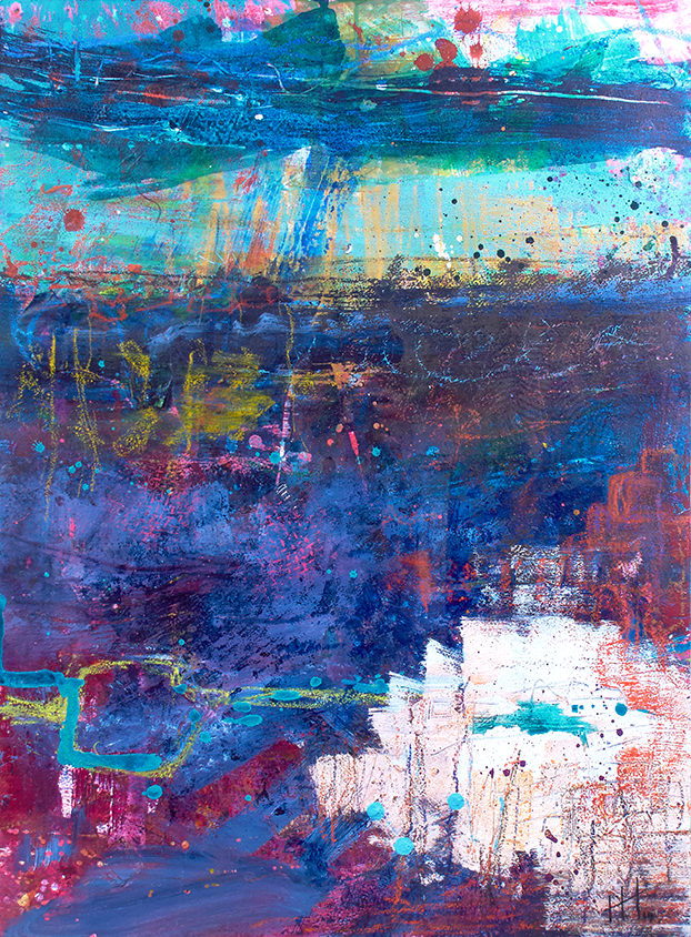'Pen Ponds' Acrylic / Pastel / Collage 78cm x 60cm (framed) SOLD