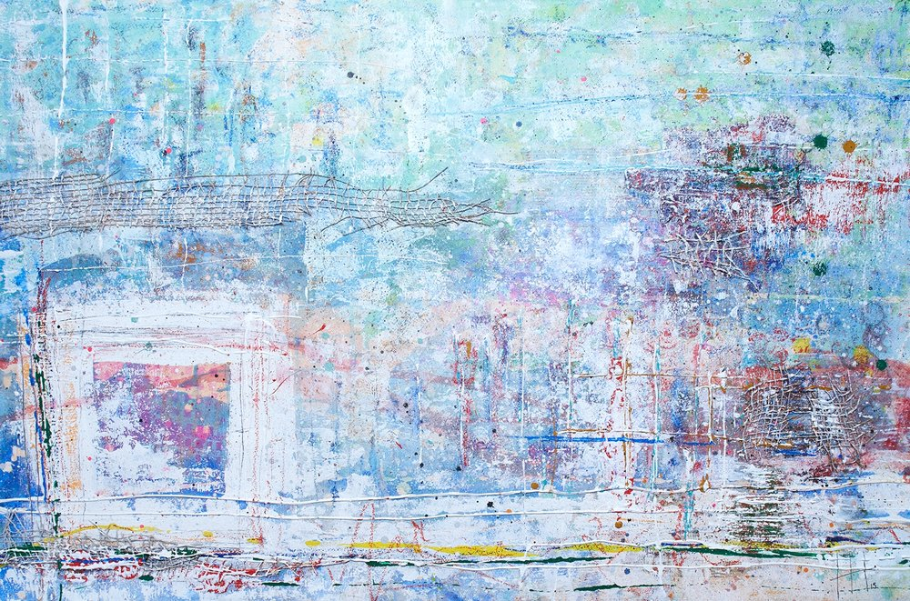 'The Beach with Antonia' Acrylic & Mixed Media / 93cm x 129cm (framed) SOLD