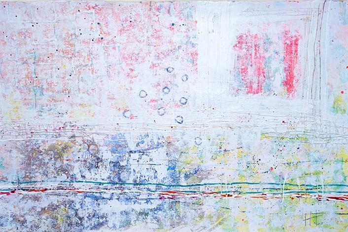 '  Trevaunance Cove  '   Acrylic /  93cm  x 129cm (framed)   SOLD
