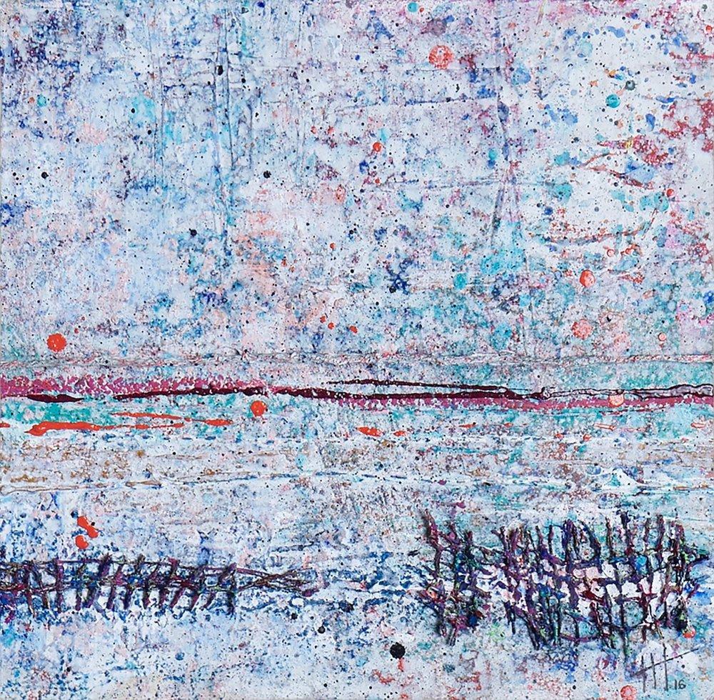 'Pier Road' Acrylic & Mixed Media / 50cm x 50cm (framed) SOLD