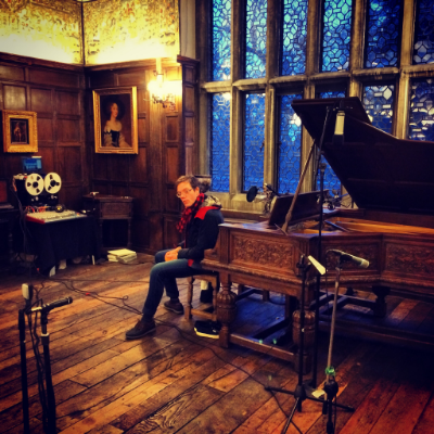 Christopher at the Salisbury Steinway before recording 'A Passing Melody'