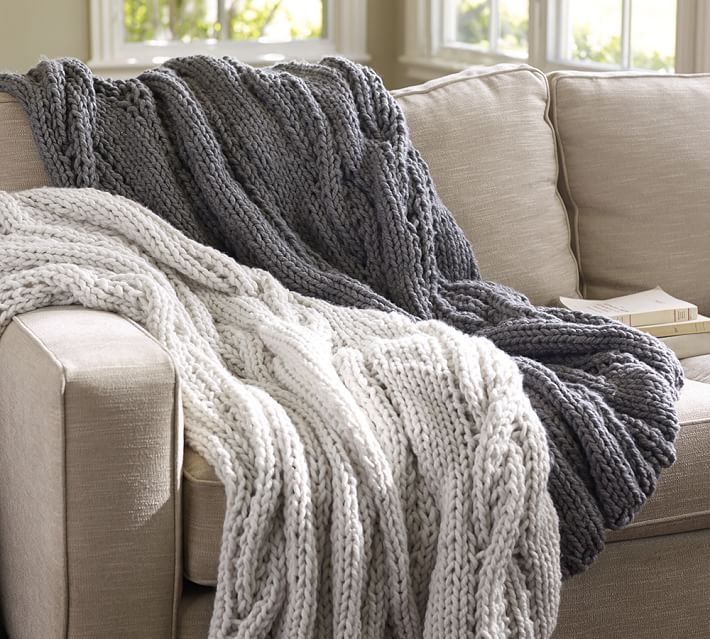Pottery Barn Chunky Cable Handknit Throw