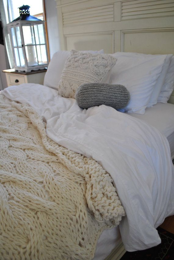 Etsy Chunky Cable Knit Blanket
