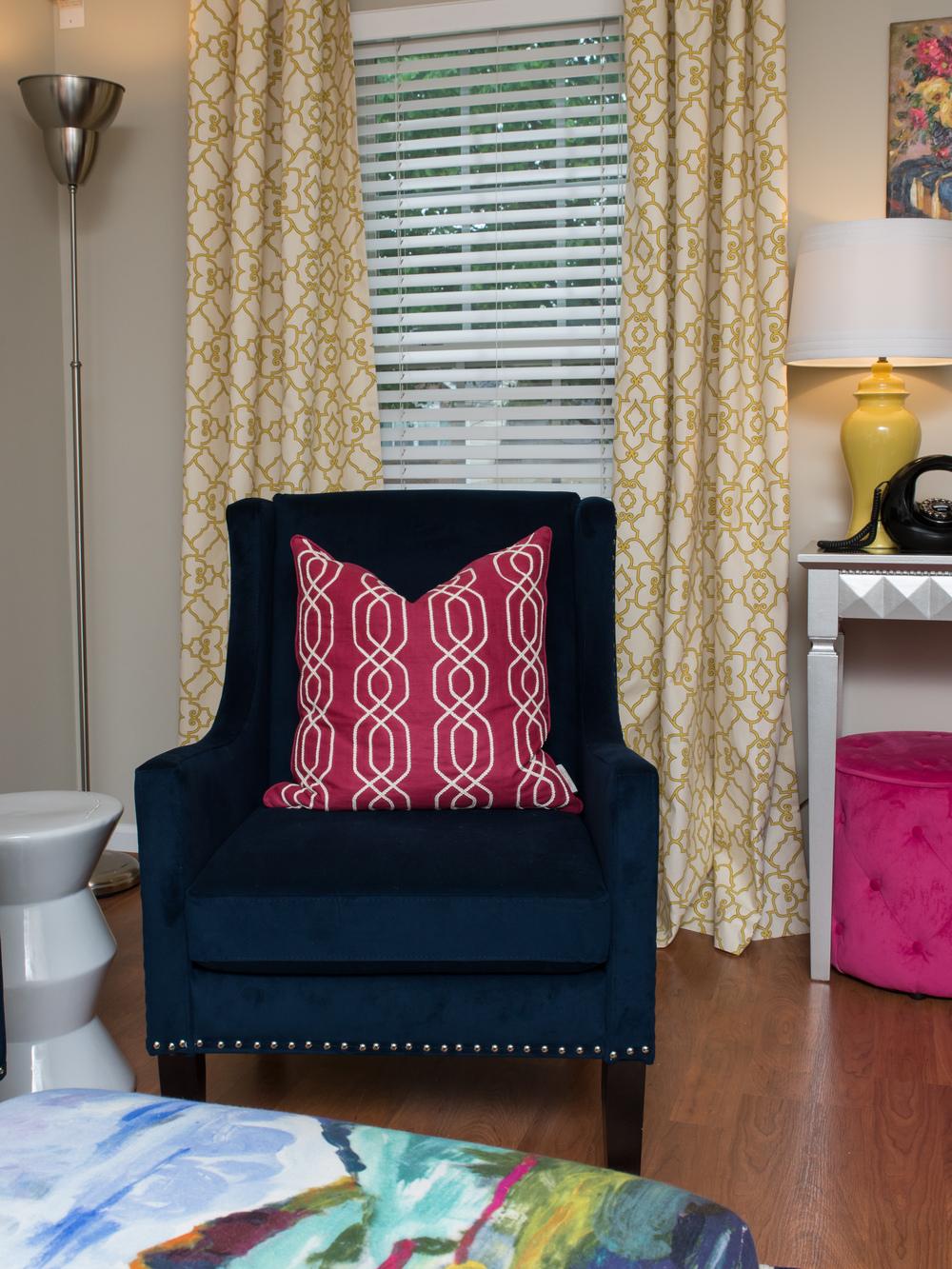 Artful Interiors Glam Living Room Navy Chair