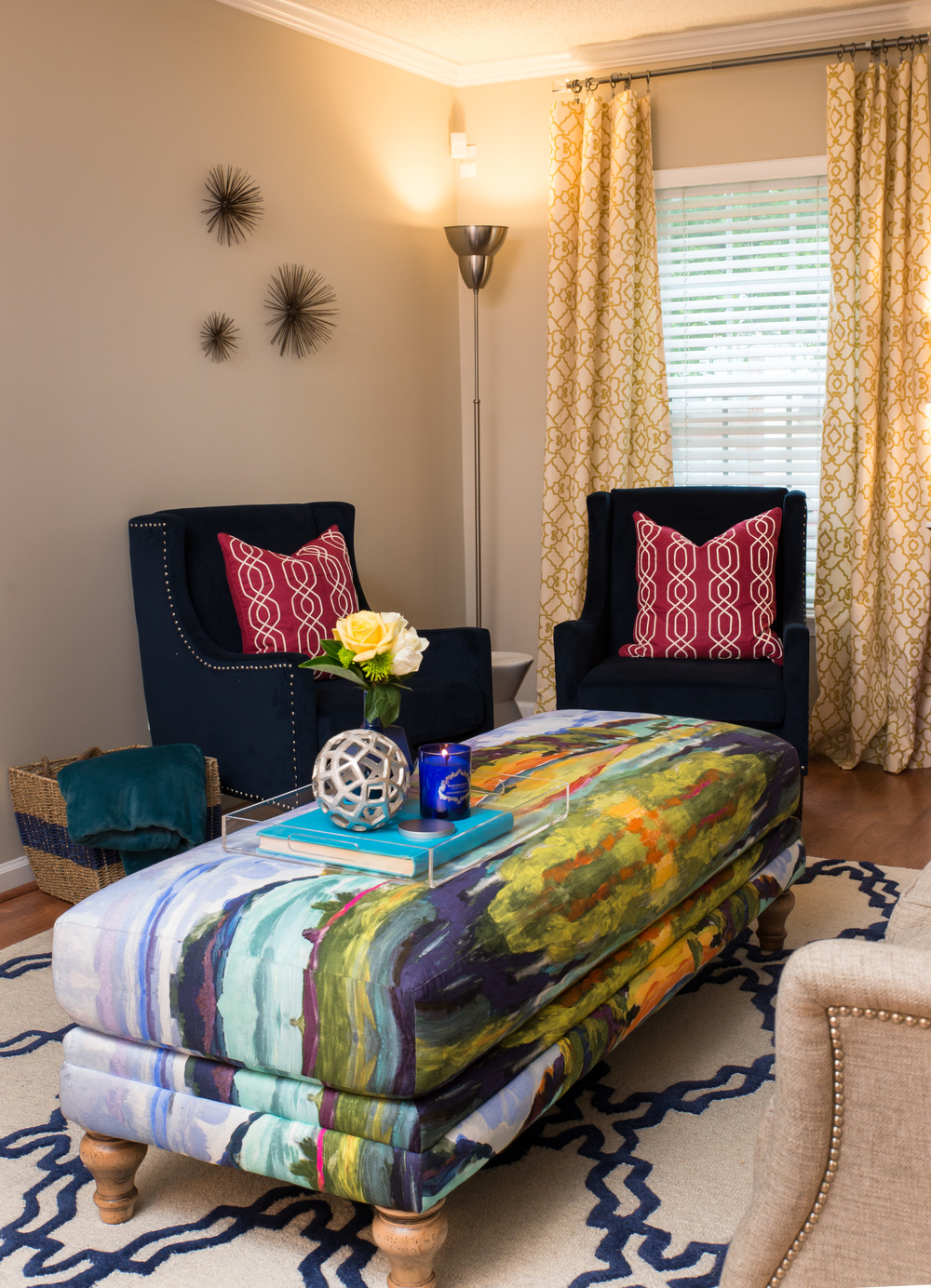 Artful Interiors Glam Living Room Ottoman