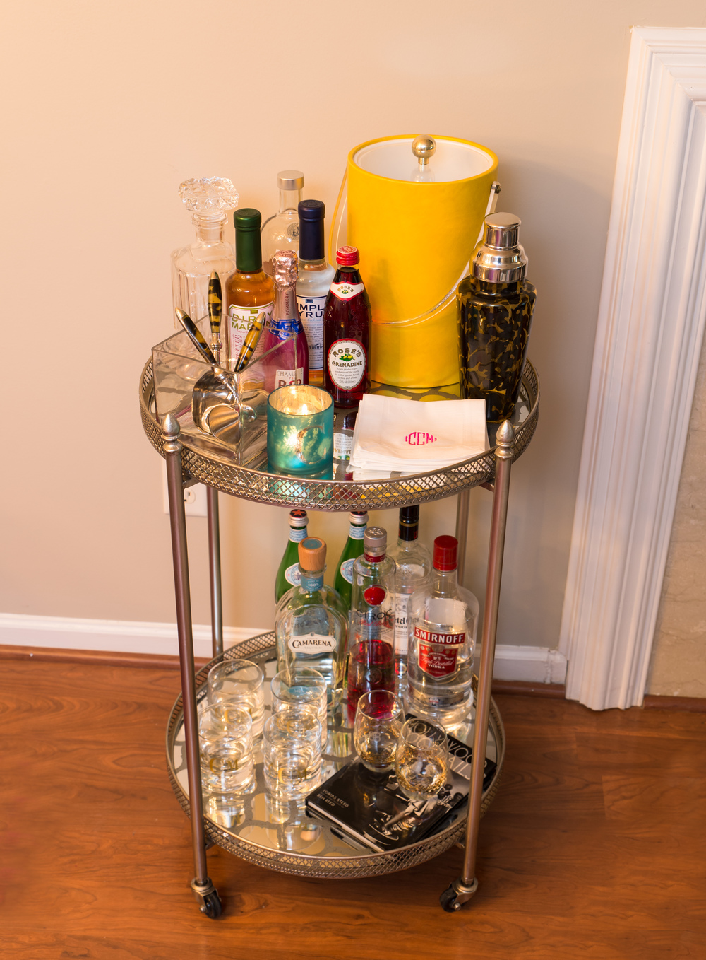 Artful Interiors Glam Dining Room Bar Cart