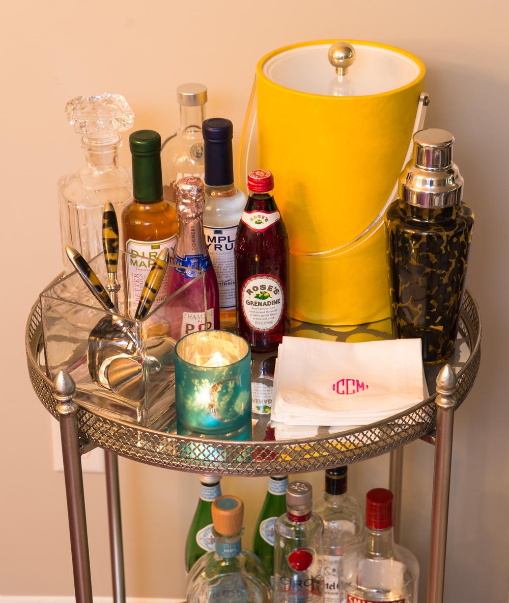 Artful Interiors – Bachelorette Pad - Bar Cart