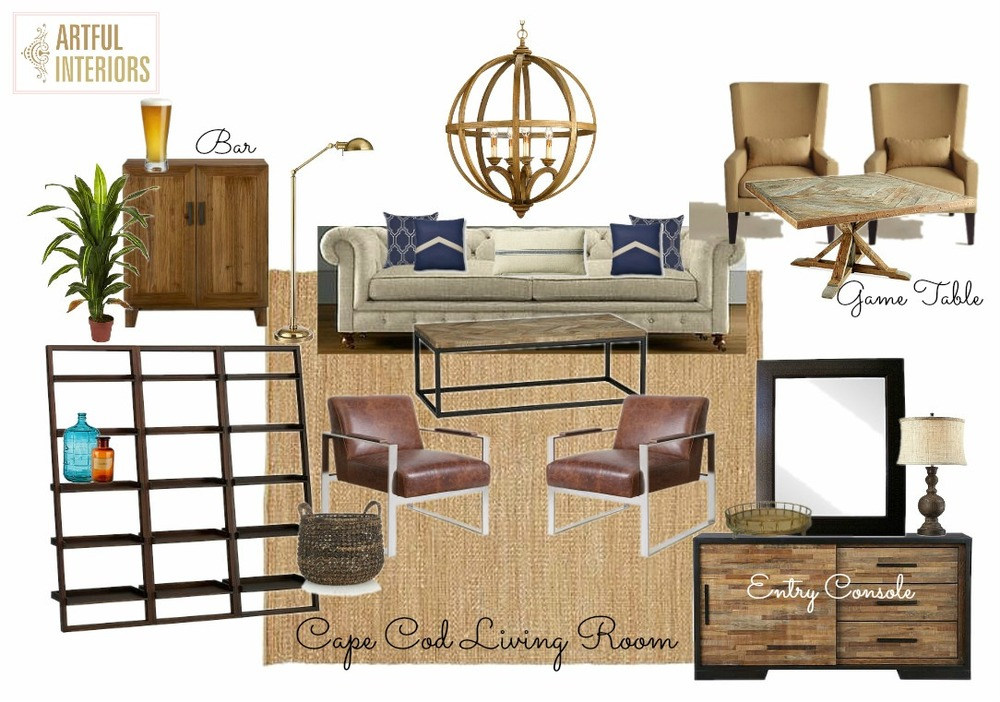 Artful Interiors – Bachelor Pad - Living Room - Design Board