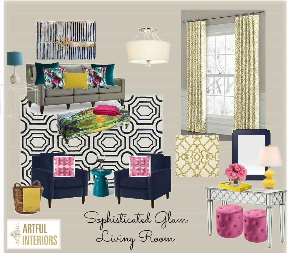 Artful Interiors – Bachelorette Pad - Living Room - Design Board