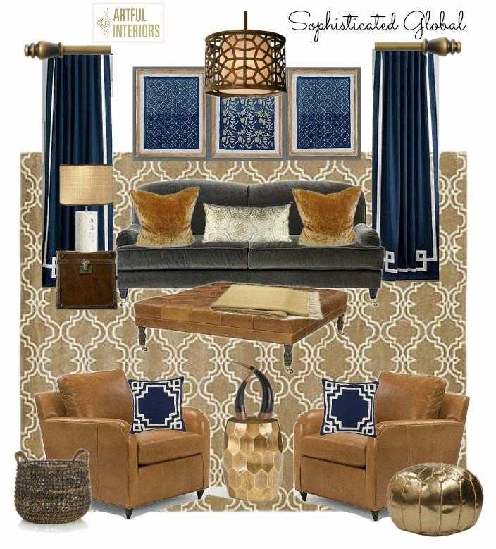 Artful Interiors – Global Living Room - Design Board
