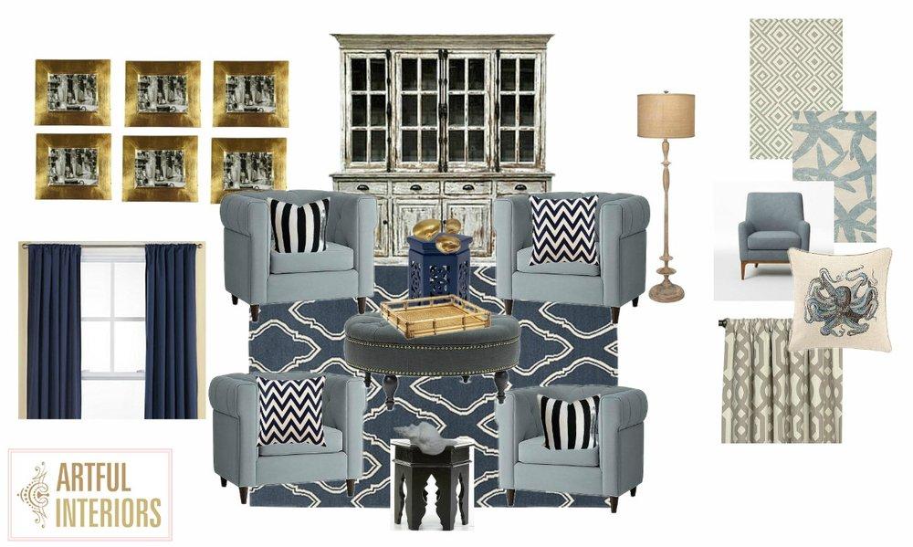 Artful Interiors - Casual Family Room - Design Board