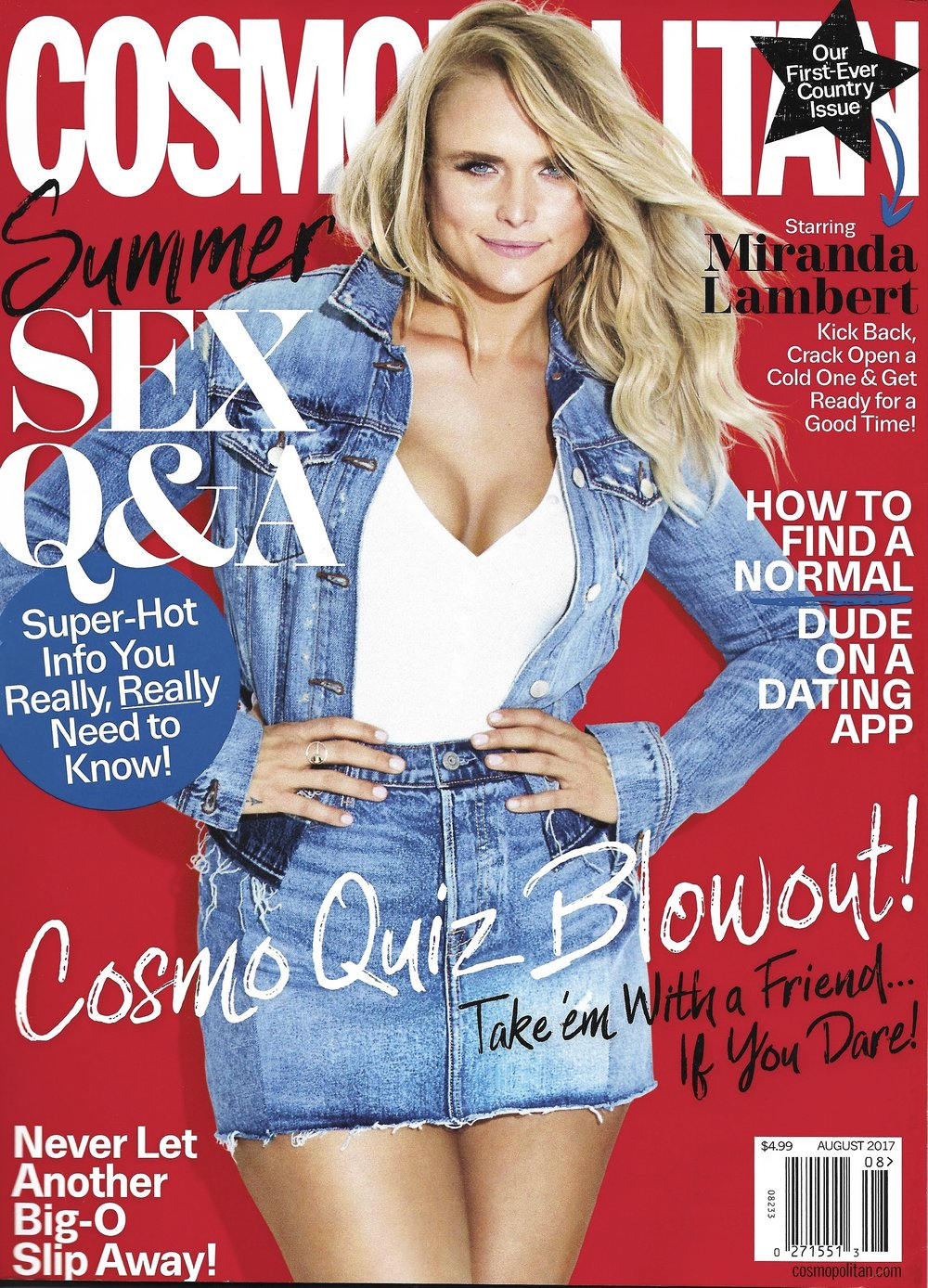 Miranda Lambert   Wearing our  14K Gold Sphere Orbit Rin g on the August  cover of  Cosmopolitan Magazine.
