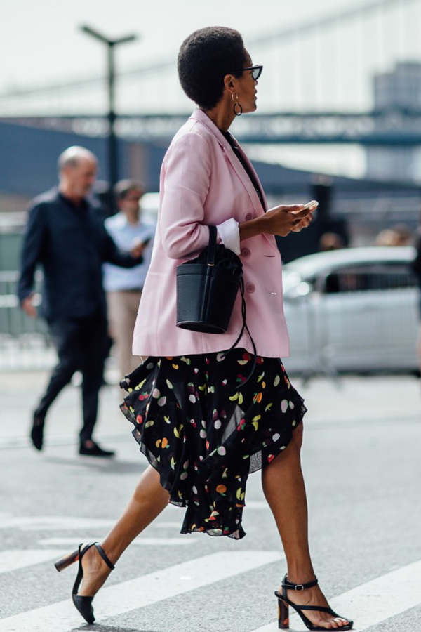 Tamu McPherson of All The Pretty Birds  Wearing our Madeline Bag in Noir at New York Fashion Week.