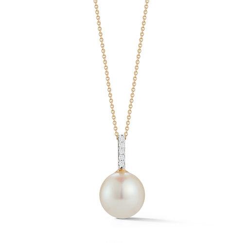 14k gold simple pearl diamond pendant 16 chain mateo new york 14k gold simple pearl diamond pendant 16 chain aloadofball Images