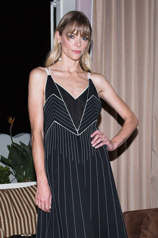 Jaime King Wearing our 14K Gold Pearl Ball Drop Earrings, while attending the Valentino X Instyle Cocktail Party.