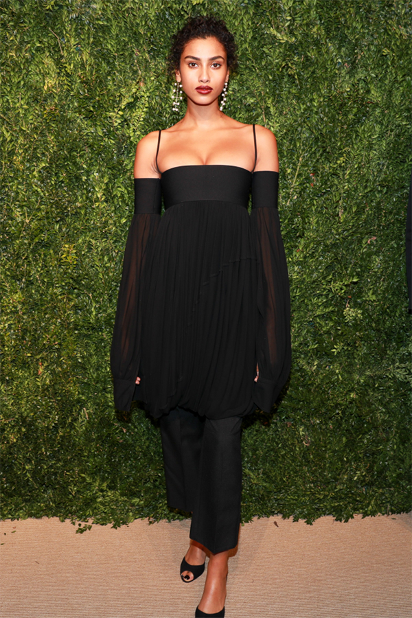 Imaan Hammam, Model Wearing our Pearl Blizzard Mobile Earrings at the CFDA/Vogue Fashion Fund Awards.