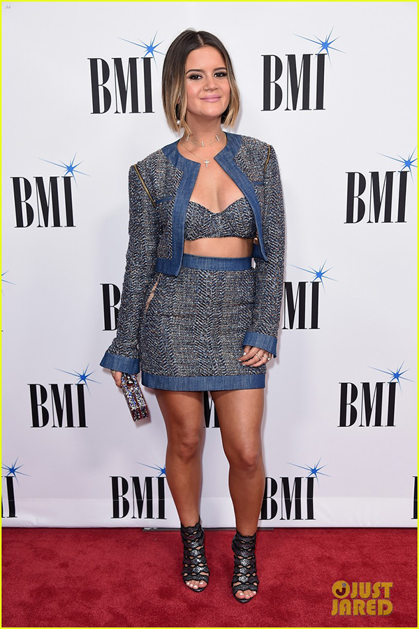 Maren Morris , Country Singer  Wears our  14K Gold & Diamond Delicate Pearl Choker  to a CMA celebration in Nashville,TN.