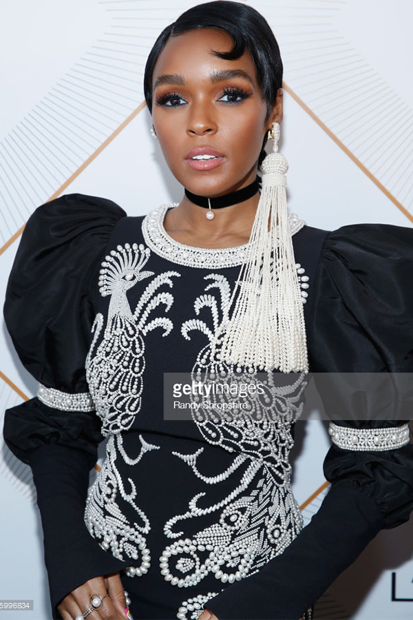 Janelle Monae , Actress   Wears our  Lady Mother of Pearl Choker , and rings.