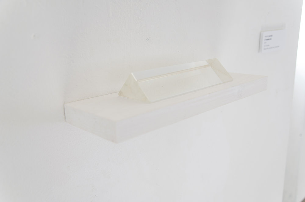 Mara Duvra  A Complete End 2015 4 x 12 inches glass prism, pigment print, wood shelf