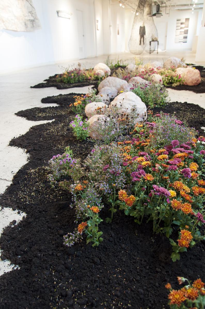 Yeonhee Cheong  Growth and Decay 2016 Abaca, soil, alfalfa, chrysanthemum