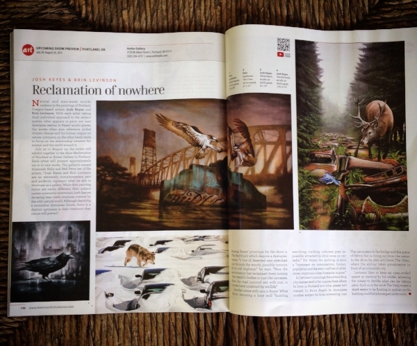 American Art Collector Magazine on Reclamation of Nowhere, Brin Levinson & Josh Keyes