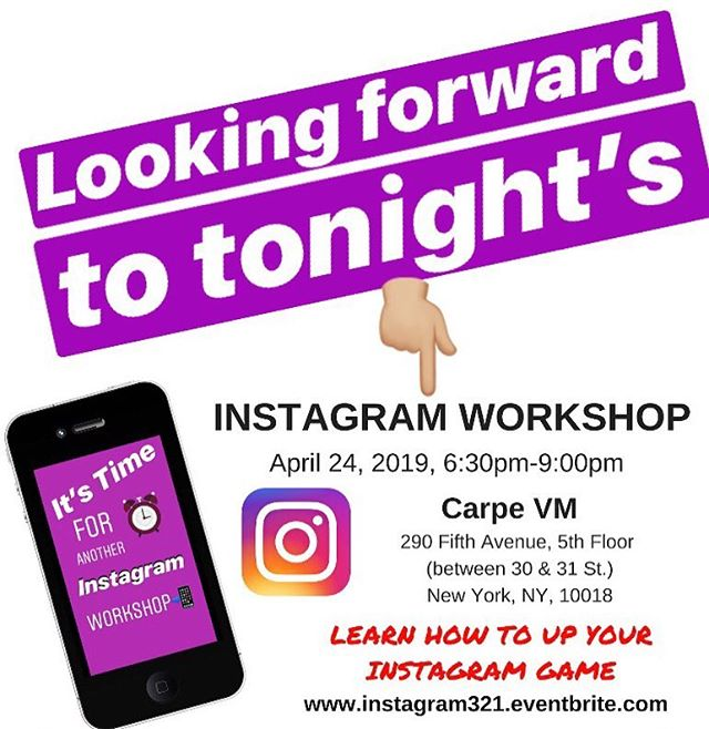 """Looking forward to tonight's Instagram📲 Workshop! Stop by for some networking at 6:30pm with me, all attendees and the New York Power Team💪🏼- the largest monthly personal growth and leadership community in New York. The workshop will begin at 7:00pm. Tickets are still available for purchase. 👉🏼Click """"Get Tickets""""👈🏼 below my bio. We might just do a Facebook LIVE & Instagram LIVE of the event🎥. Stay tuned... ... #instagramworkshop #socialmediaworkshop #nycworkshop #nyevent #instagramstory . . . . . #contentmarketer #contentmarketers #contentmarketing101 #contentmarketingstrategy #contentproduction #freelancemarketing #freelances #freelancewriters #femalehustlers #learndigitalmarketing #socialmediacampaign #socialmediajunkie #socialmedianetwork #webproject #socialmediatip #smtipoftheday #smtipoftheweek 💡#socialmedia101 #socialmediaconsultant #socialmediastrategist #socialmediasuccess #contentmarketingtips #authorpreneurs #solopreneurs"""