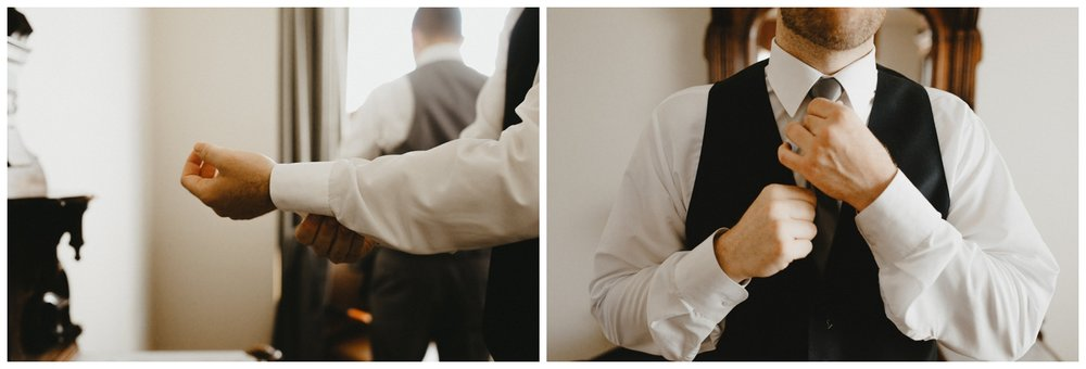 a groom adjusts his cufflinks