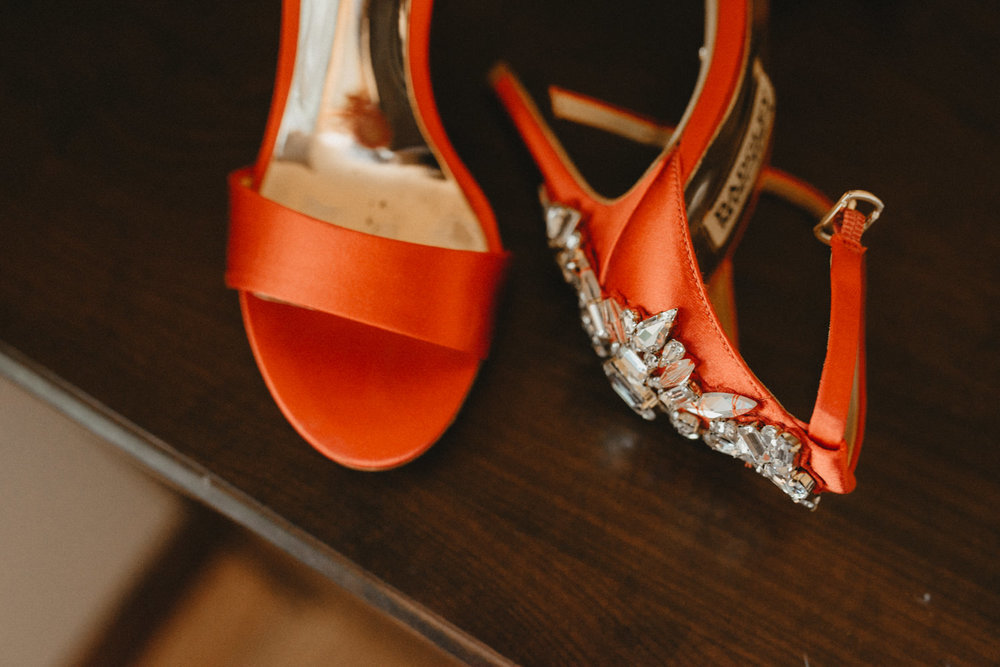 jewels on  red pair of badgley mischka high heel shoes