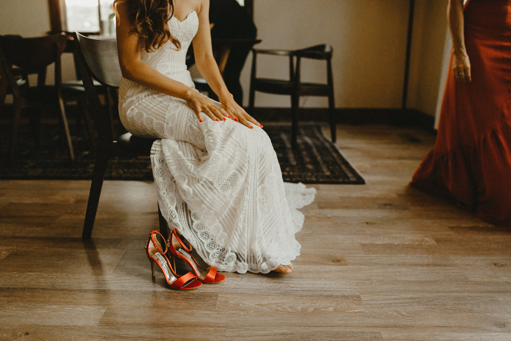 bride and her red high heels