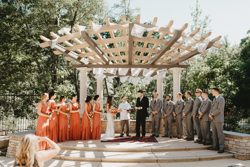 creekside rose garden wedding ceremony