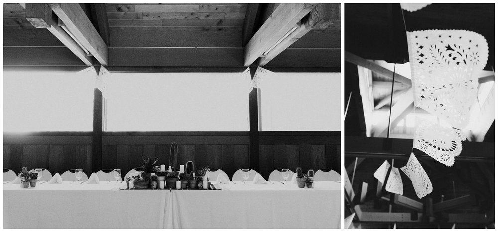 black and white cactus and Dia De Los Muertos head table at wedd