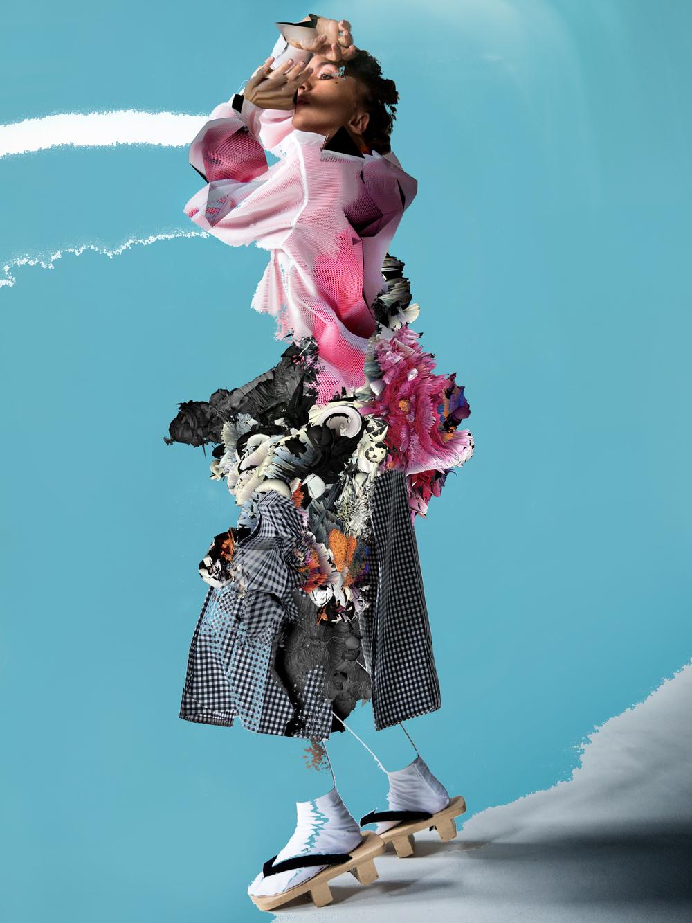 Mesh sweatshirt by PLASTIC TOKYO, Zip-up sweatshirt by ADIDAS, Skirt by NICOMEDE TALAVERA