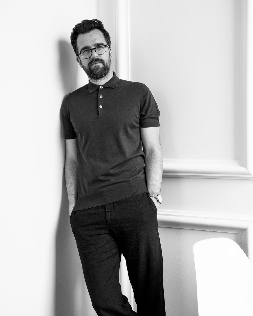 BRUNELLO CUCINELLI polo shirt, $545 available at mrporter.com, OLIVER SPENCER canvas trousers, $255 available at mrporter.com