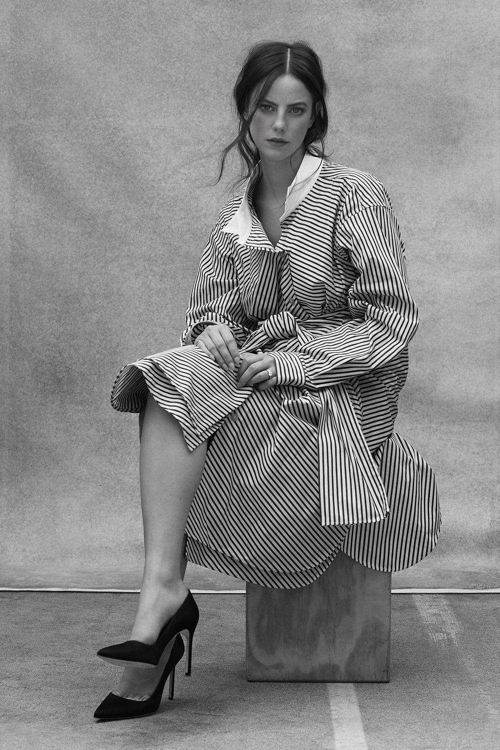 Shirt dress by LOEWE from The Apartment by theline.com, Shoes by MANOLO BLAHNIK, Ring by WEDNESDAY