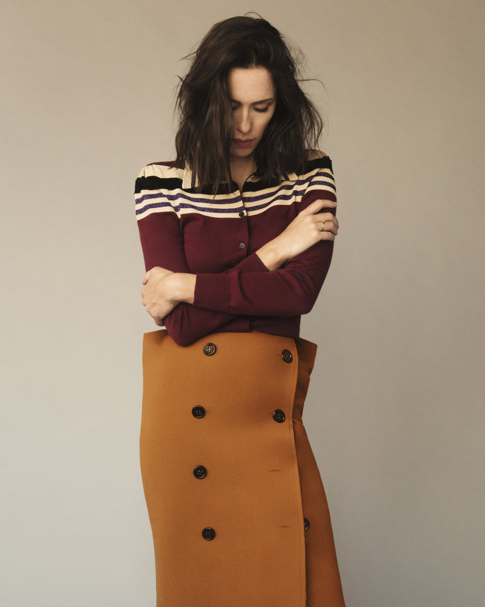 Sweater in barolo striped wool and skirt in dark leather new wool natte by   BOTTEGA VENETA    Fall/Winter 2017