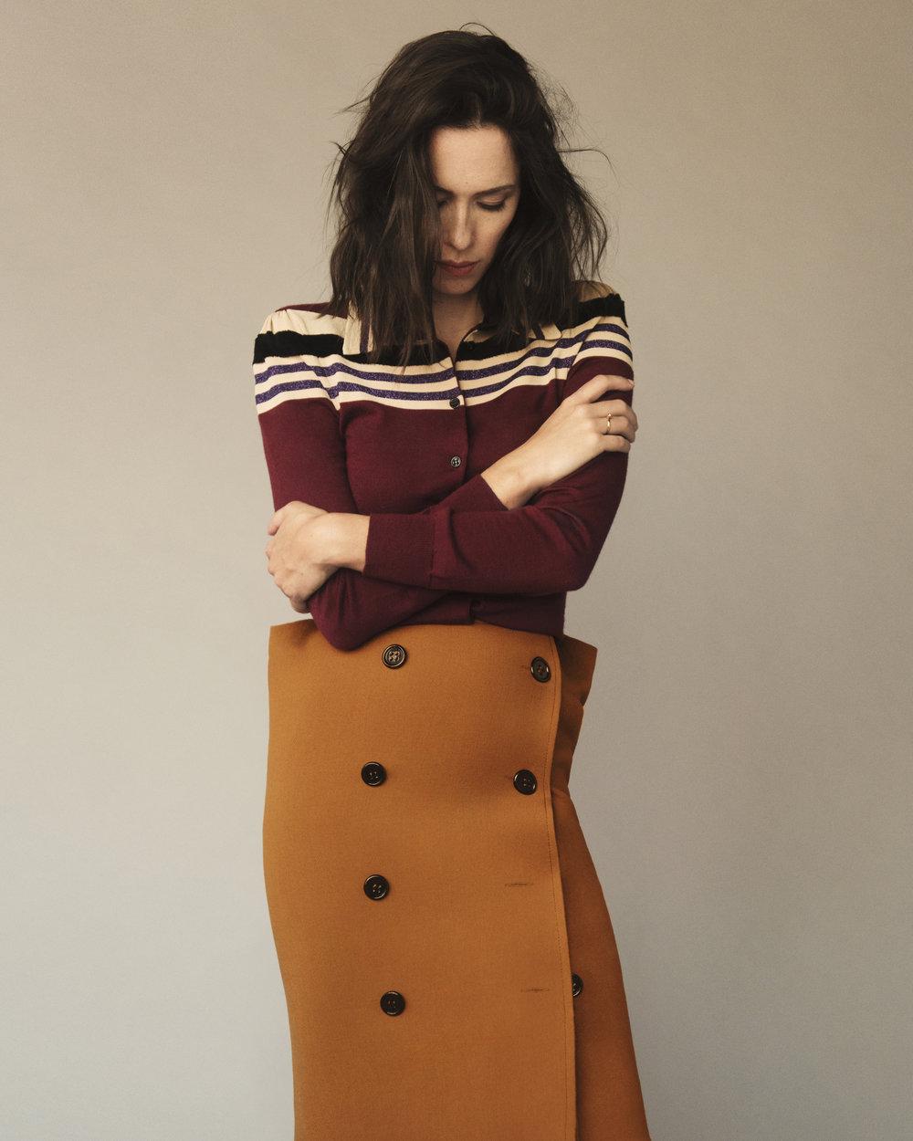 Sweater in barolo striped wool and skirt in dark leather new wool natte by BOTTEGA VENETAFall/Winter 2017