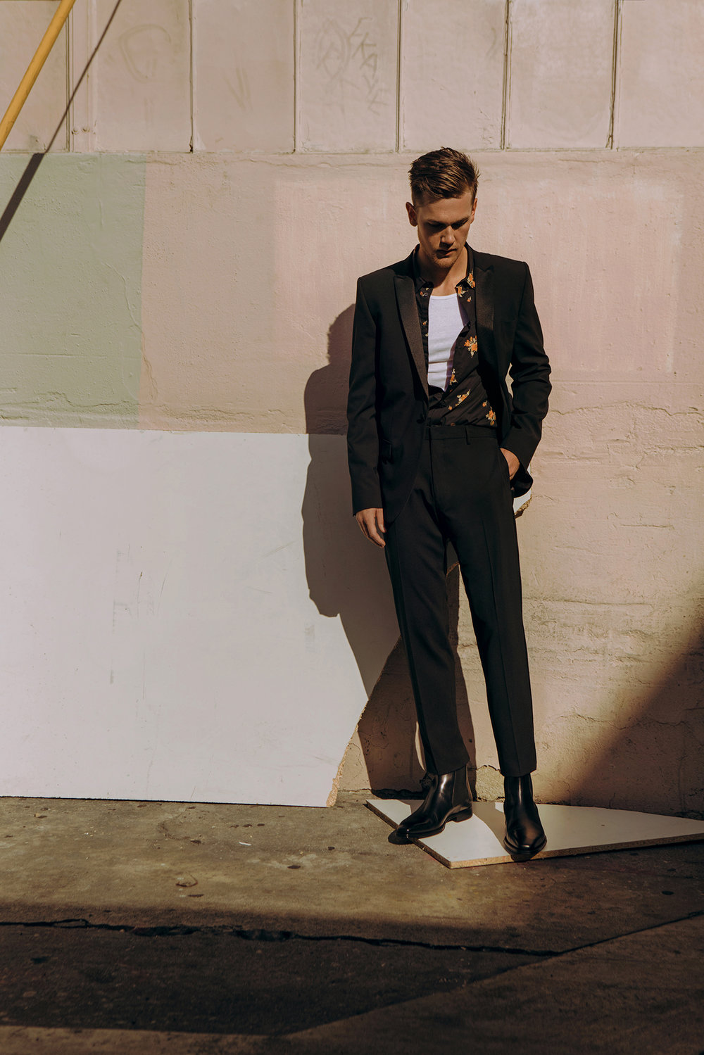 Suit and shirt by   MSGM  ; Tank by   HANES  ; Shoes by   MAGNANNI