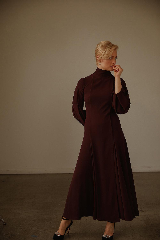 Dress by   EMILIA WICKSTEAD  ; Shoes by   CHLOE GOSSELIN