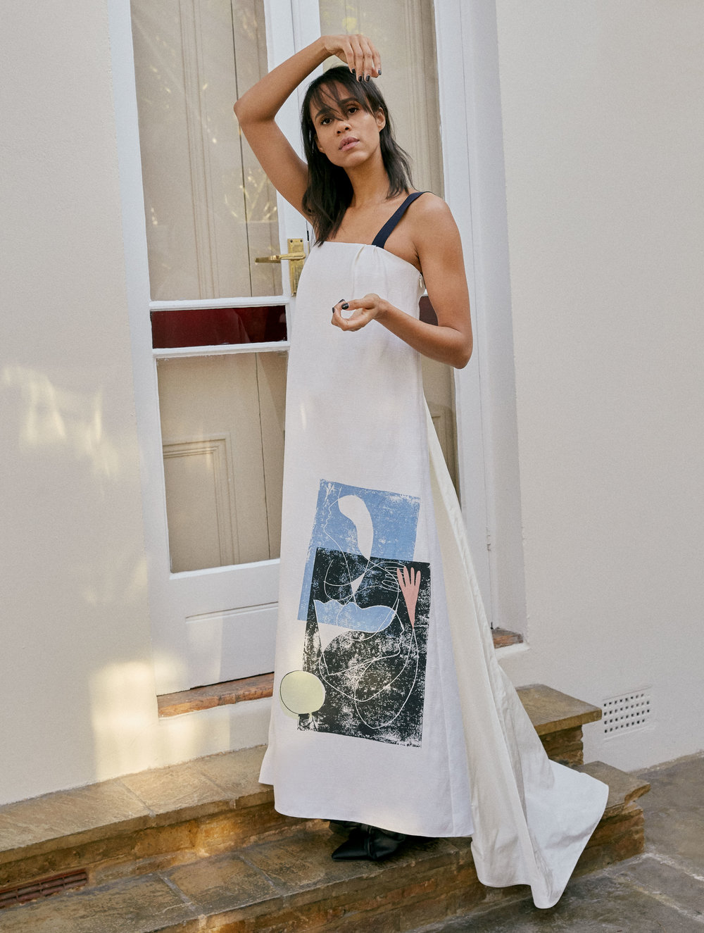 Dress by   ROKSANDA  ; Shoes by   MOTHER OF PEARL