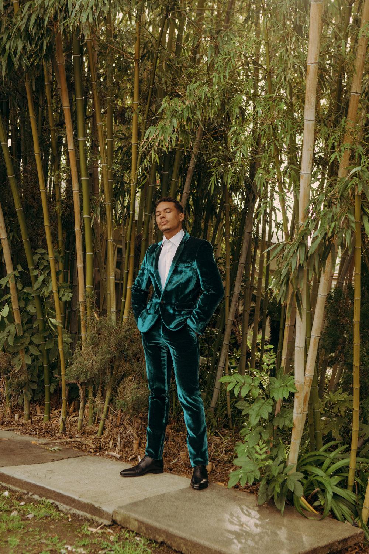 Suit by   SAINT LAURENT  ; Shirt by   ETRO  ; Shoes by   MAGNANNI